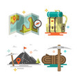 camping set of equipment symbols vector image