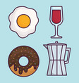 coffee and food icon vector image