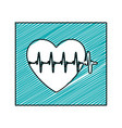 color pencil drawing square frame with heartbeat vector image vector image