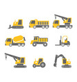 construction vehicles flat design icon set vector image vector image