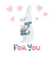 cute cartoon bunny on white background with gift vector image