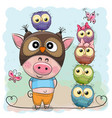 cute cartoon pig and five owls vector image vector image