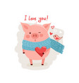 cute cartoon pig with pink large vector image vector image