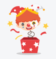 cute clown with box vector image vector image