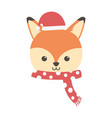 cute fox with hat and scarf merry christmas vector image vector image