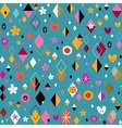 cute hearts stars flowers and diamond shapes funky vector image vector image