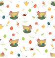 easter chicken seamless pattern cute chicken eggs vector image vector image