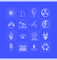 energy gradient icons set on blue background vector image vector image