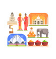 famous touristic attractions to see in india vector image vector image