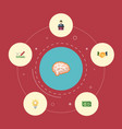 flat icons design bulb mind and other vector image vector image