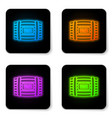 glowing neon wooden barrel for wine icon isolated vector image vector image