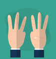 hand showing three fingers gesturing vector image