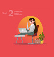 handsome designer woman is working at his laptop vector image