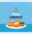 happy hanukkah with sweet breads and david star vector image