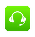 headset icon green vector image vector image