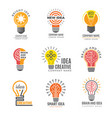 ideas bulb logotypes colorful creative lamp shape vector image vector image