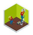 isometric master electrician at work near the vector image