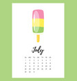 july 2018 year calendar page vector image vector image