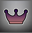 king crown sign violet gradient icon with vector image