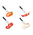 knife chopping vegetable 3d design set vector image vector image