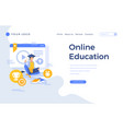 landing page template online education concept vector image