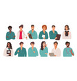 large set twelve different multiracial doctors vector image