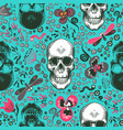 lovely seamless pattern with human skulls drawn in vector image