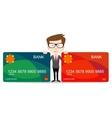 Man holding a bank card vector image vector image