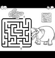 maze with elephant coloring page vector image vector image