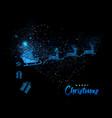 merry christmas blue glitter santa greeting card vector image vector image