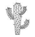 monochrome silhouette of cactus of three branch vector image vector image
