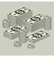 Piles of money on grey vector image