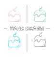 pudding hand drawn icons set vector image vector image