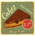 Retro Menu Card with Slice of Cake vector image vector image