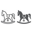 rocking horse line and glyph icon baby and toy vector image vector image