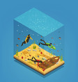 scuba divers underwater isometric composition vector image vector image