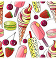 seamless hand drawn summer pattern with ice-cream vector image vector image