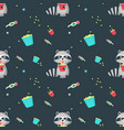 seamless pattern with cute funny raccoon vector image vector image