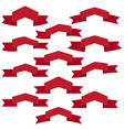 set of twelve red ribbons and banners vector image