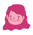 smiling girl face character cartoon isolated vector image vector image