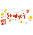 Summer sale ad banner top view gift box with red