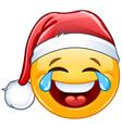 tears joy emoticon with santa hat vector image