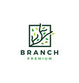 three branch square leaf tree logo icon vector image vector image