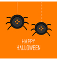 Two cute hanging button spiders on web Happy vector image vector image