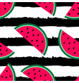 watermelon seamless pattern striped background vector image