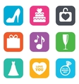 Wedding engagement icons Cake gift box vector image vector image