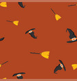 witch hat broom halloween pattern seamless color vector image