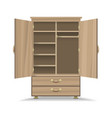 wooden opened wardrobe vector image