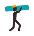 worker contruction carrying material graphic vector image