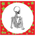 half body human skeleton hand drawn sign vector image
